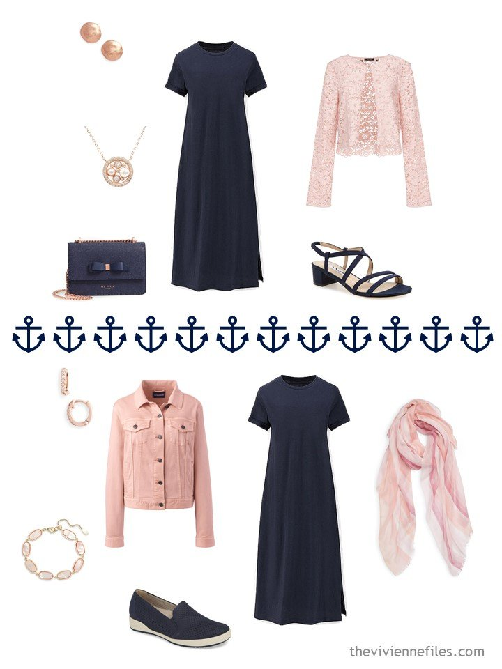 14. 2 ways to wear a navy dress from a travel capsule wardrobe