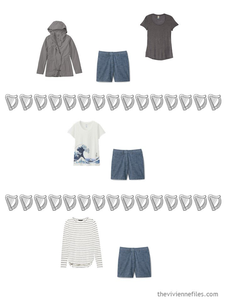 14. 3 ways to wear chambray shorts from a travel capsule wardrobe