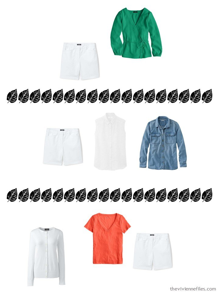 14. 3 ways to wear white shorts from a 4 by 4 Wardrobe