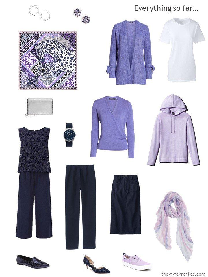 14. navy, lavender and white capsule wardrobe