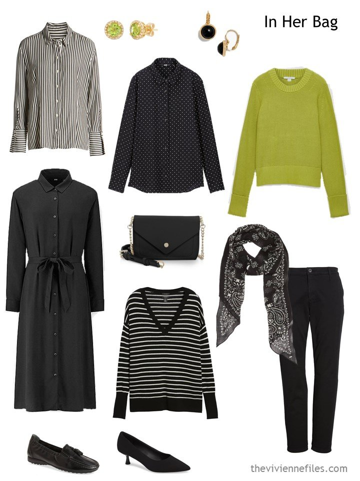 14. travel capsule wardrobe in black, white and acid green