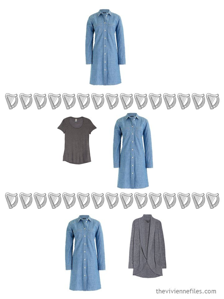 15. 3 ways to wear a denim shirtdress from a travel capsule wardrobe