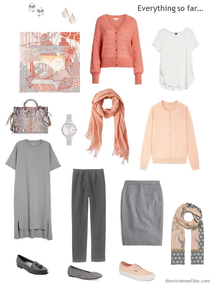 15. grey, peach and white capsule wardrobe