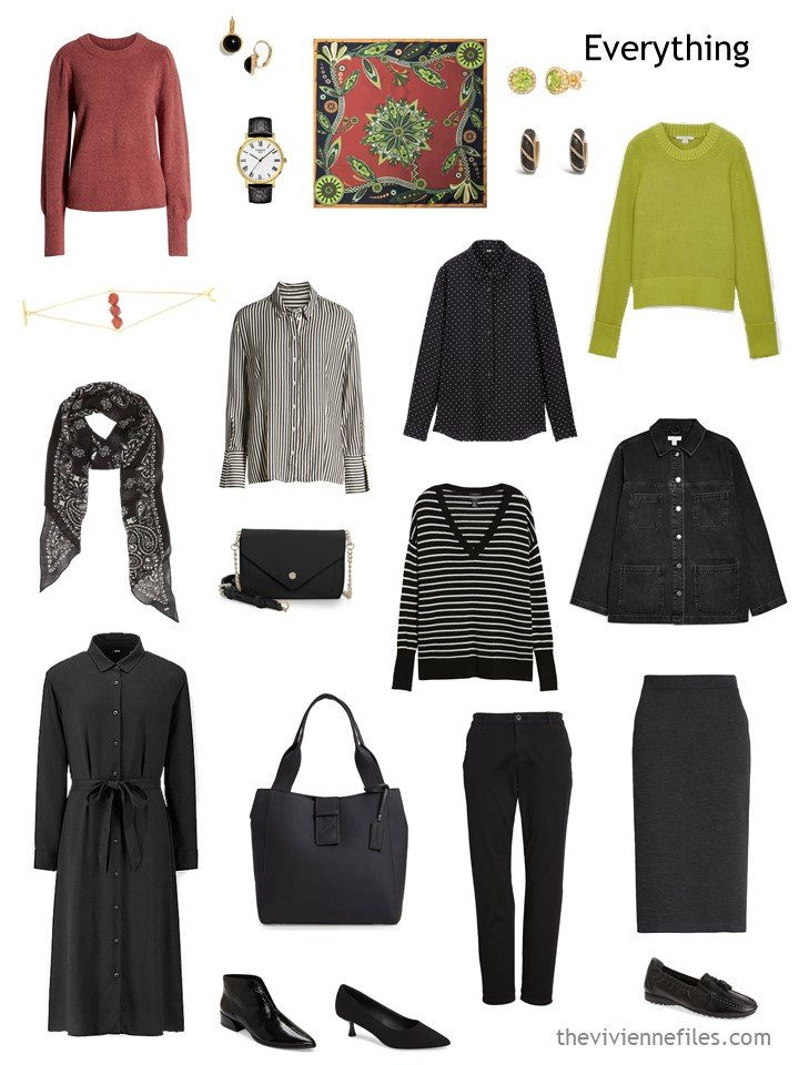 15. travel capsule wardrobe in black, white, cinnabar and acid green
