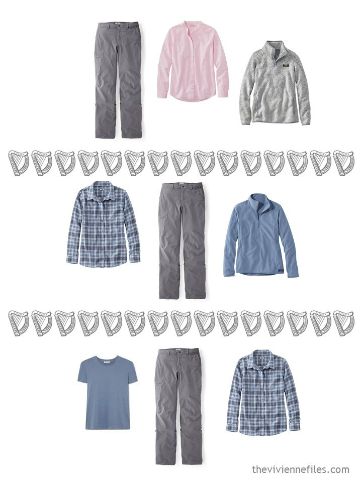 16. 3 ways to wear grey hiking pants from a travel capsule wardrobe