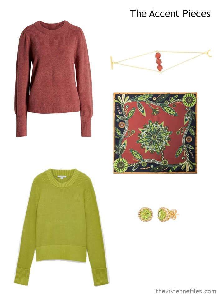 16. Wardrobe accents in cinnabar and acid green