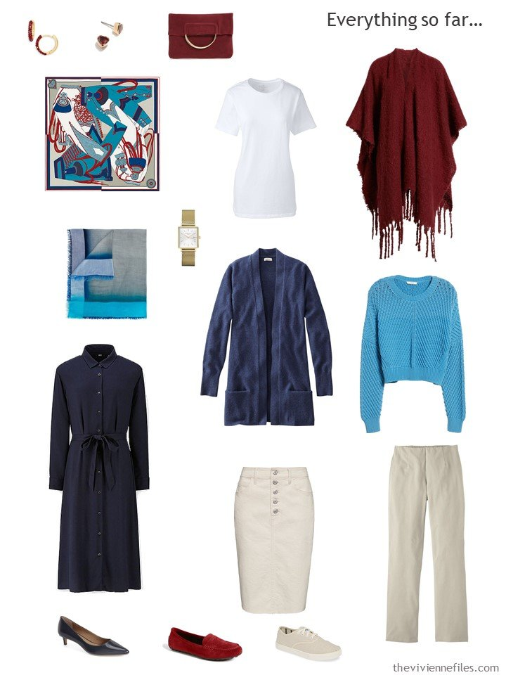 16. navy, beige, red and white capsule wardrobe