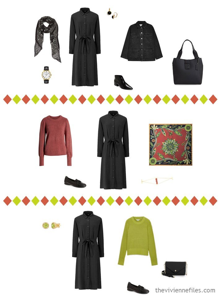 17. 3 outfits from a capsule wardrobe in black, white, cinnabar and acid green