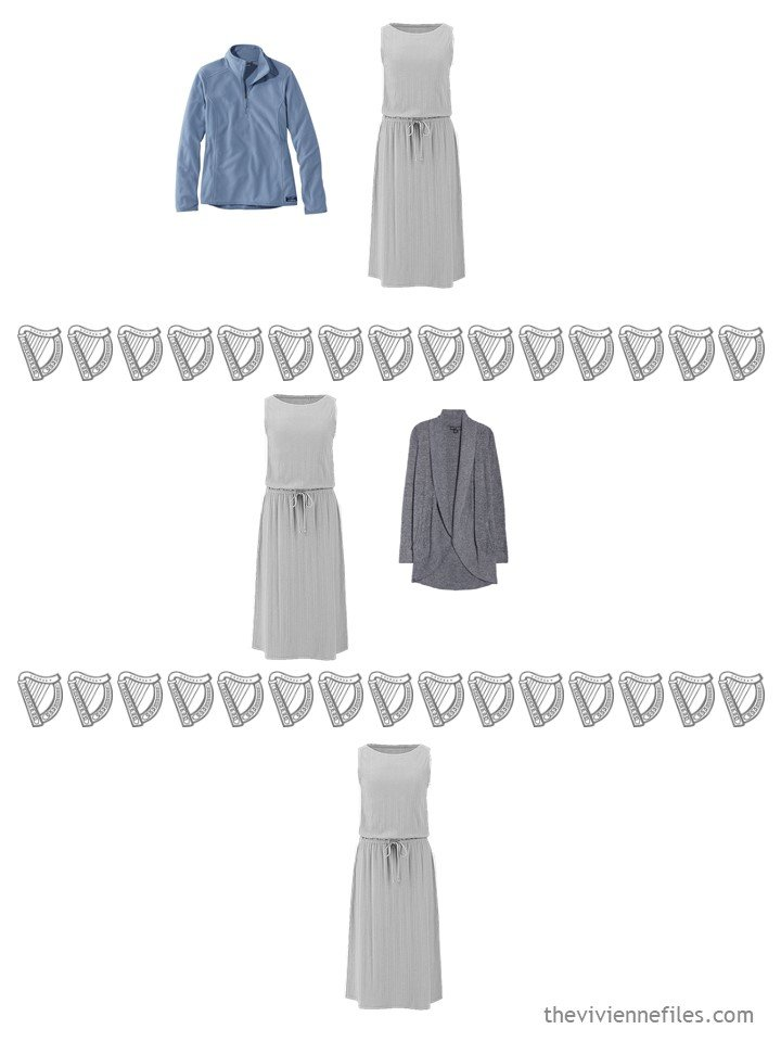 17. 3 ways to wear a sleeveless dress from a travel capsule wardrobe