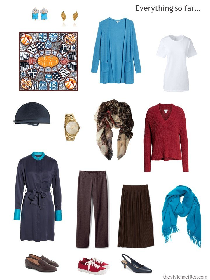 17. navy, turquoise, brown and red capsule wardrobe