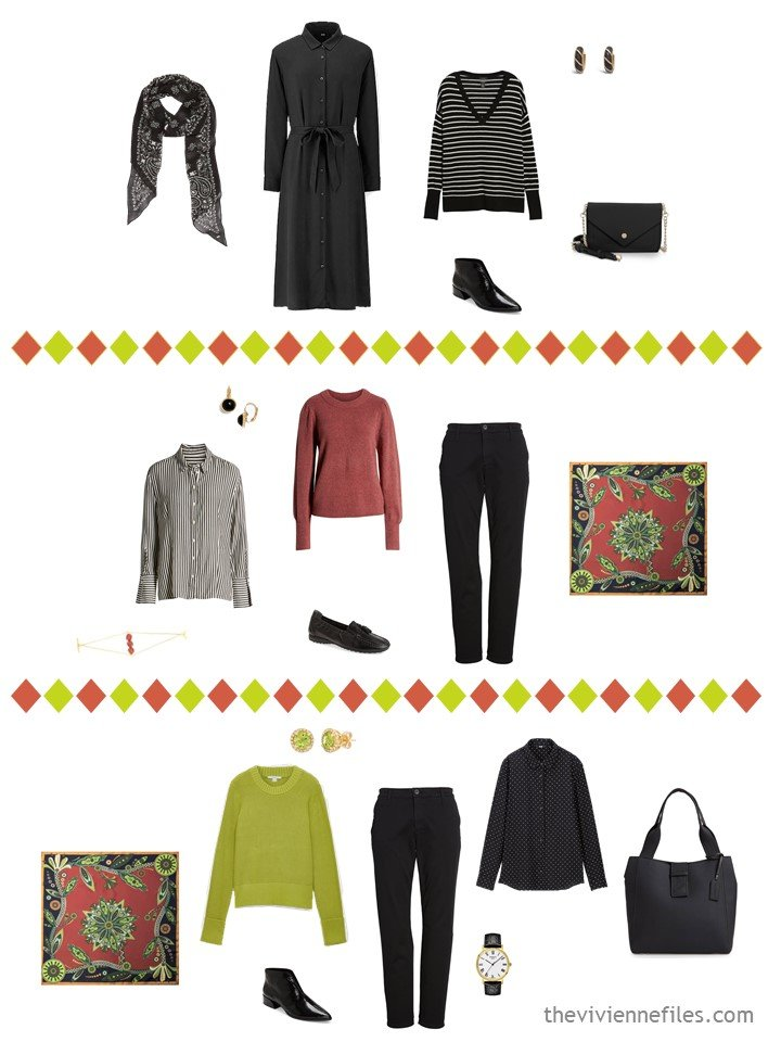 18. 3 outfits from a travel capsule wardrobe in black, white, cinnabar and acid green