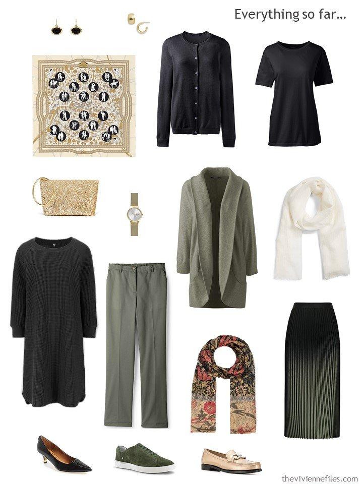 18. black, olive and white capsule wardrobe