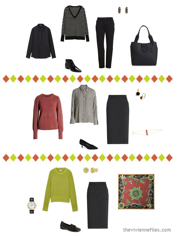 19. 3 outfits from a travel capsule wardrobe in black, white, cinnabar and acid green