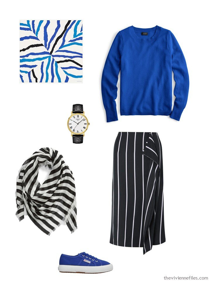 2. black and blue skirt outfit