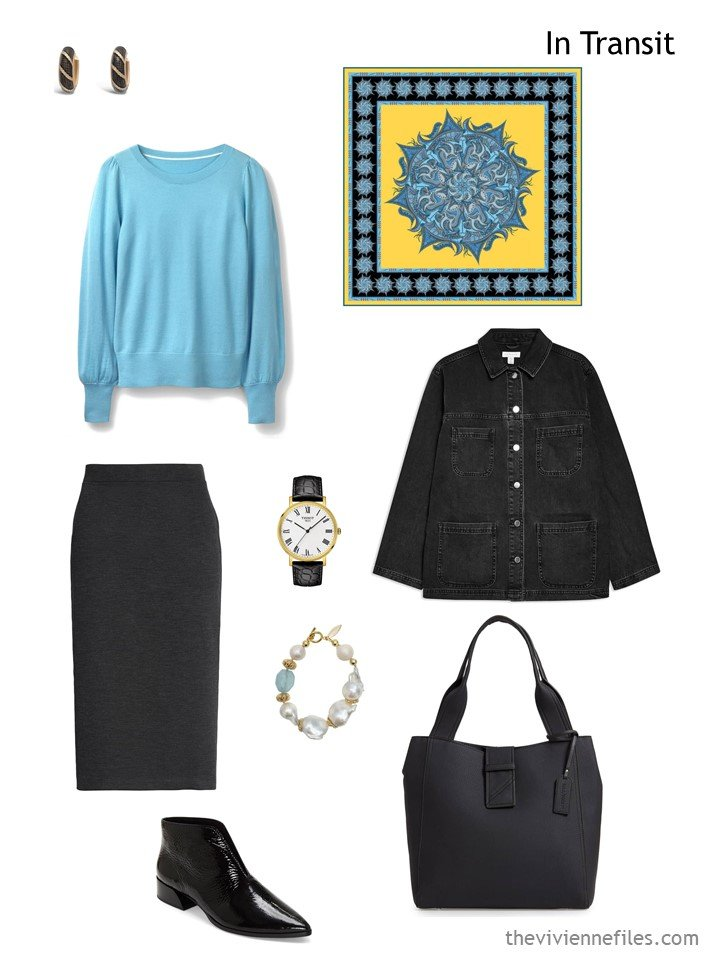 2. black and turquoise travel outfit