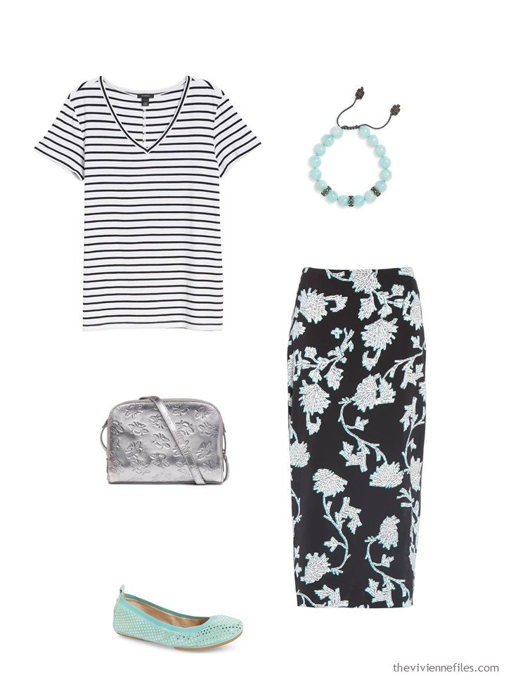 2. black and white stripes and flowers outfit
