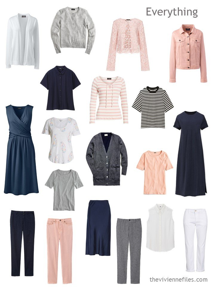 2. travel capsule wardrobe in navy, white, blush and grey