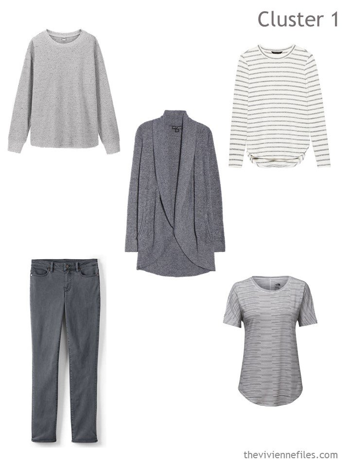 2. travel cluster based on grey jeans and cardigan
