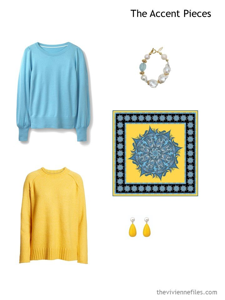 2. wardrobe accents in turquoise and yellow