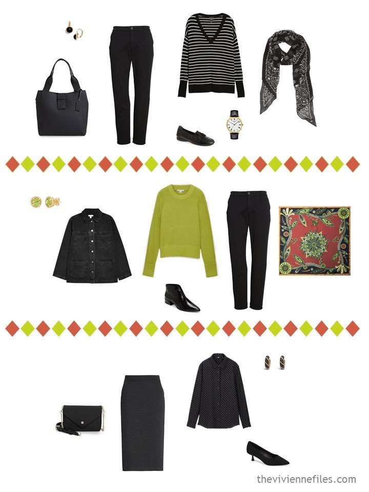 20. 3 outfits from a travel capsule wardrobe in black, white, cinnabar and acid green