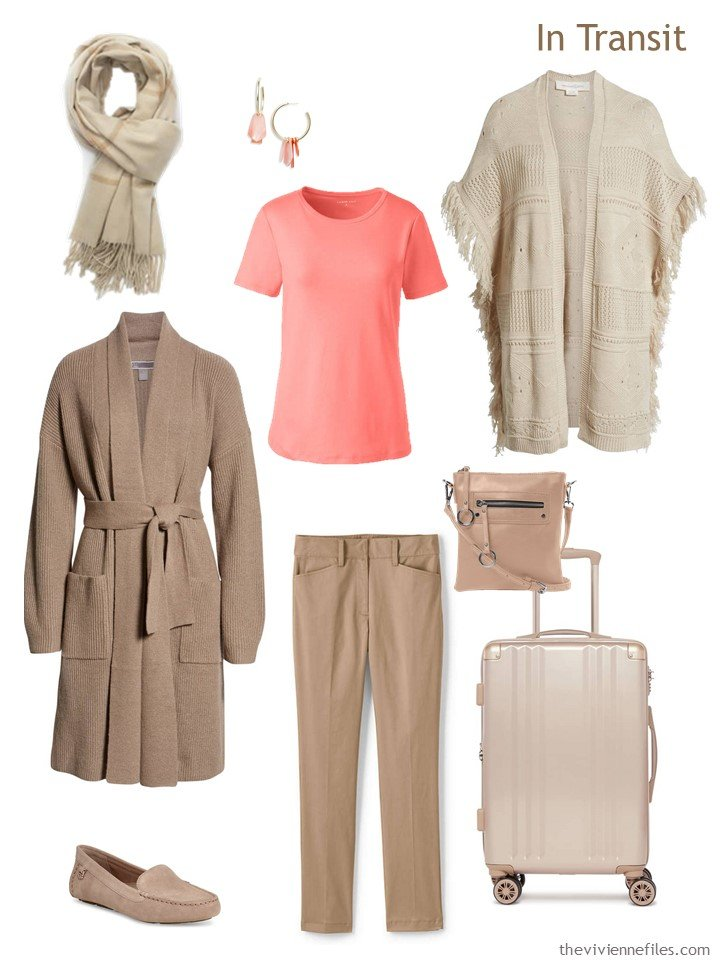 3. beige and coral travel outfit