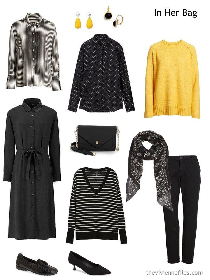 3. black, white and yellow travel capsule wardrobe