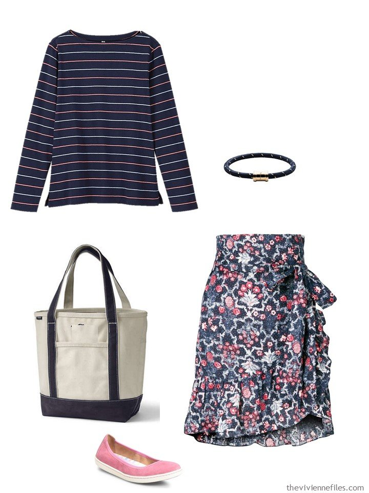 3. navy and pink stripes and flowers outfit