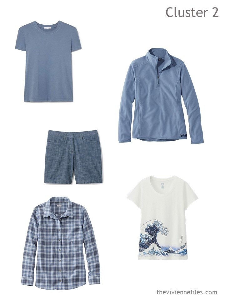 3. travel cluster based on chambray shorts and blue tops