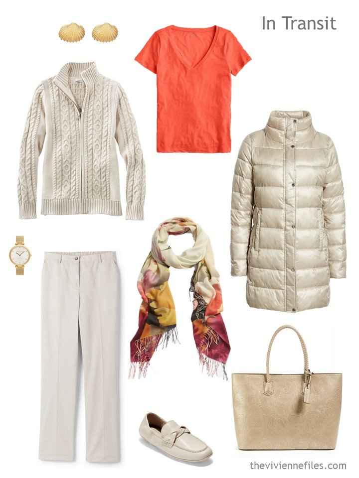 3. travel outfit in beige and persimmon