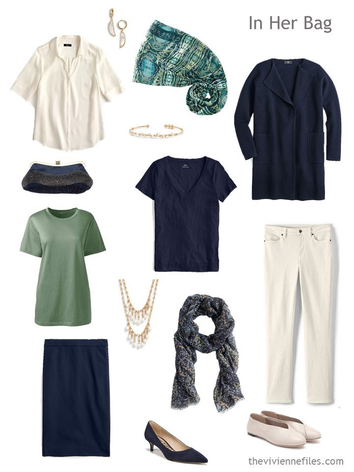 4. Six-Pack travel capsule wardrobe in beige, navy and green