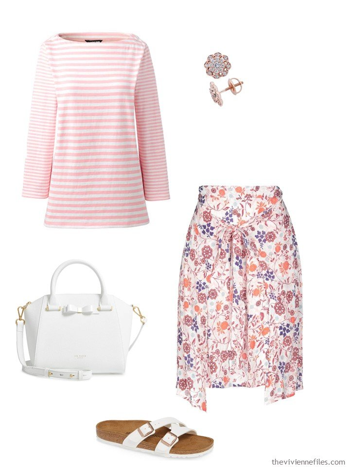 4. coral and white stripes and flowers outfit