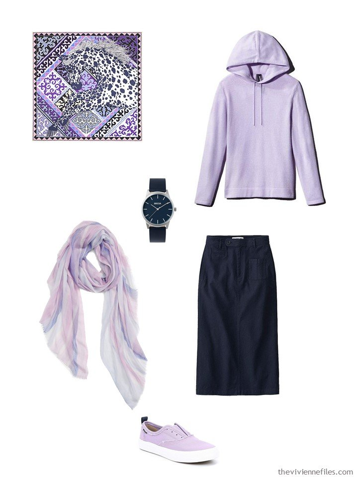 4. lavender and navy skirt outfit