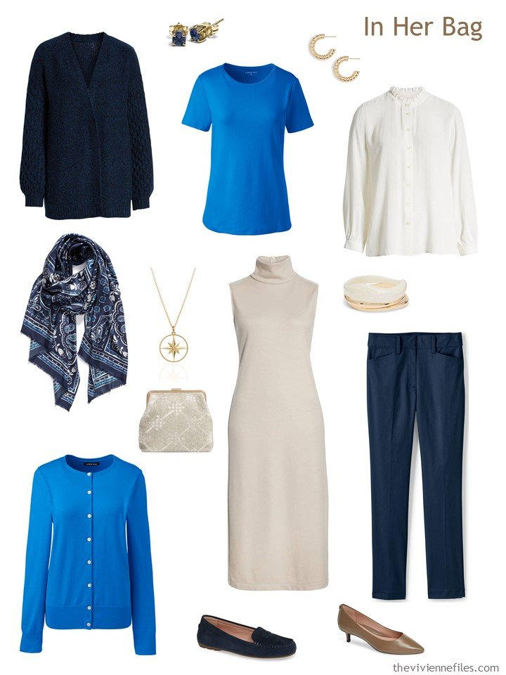 4. navy, beige, blue and white travel capsule wardrobe