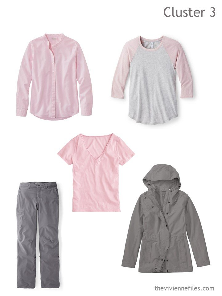 4. travel cluster based on grey hiking pants, jacket, and pink tops