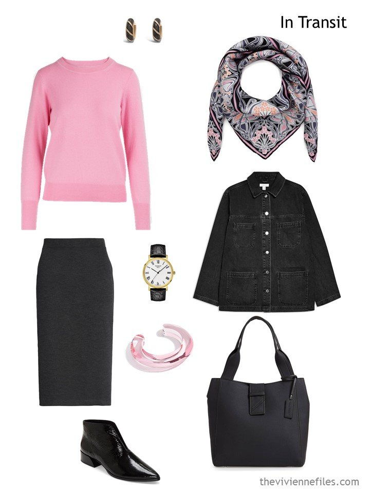 4. travel outfit in black and pink