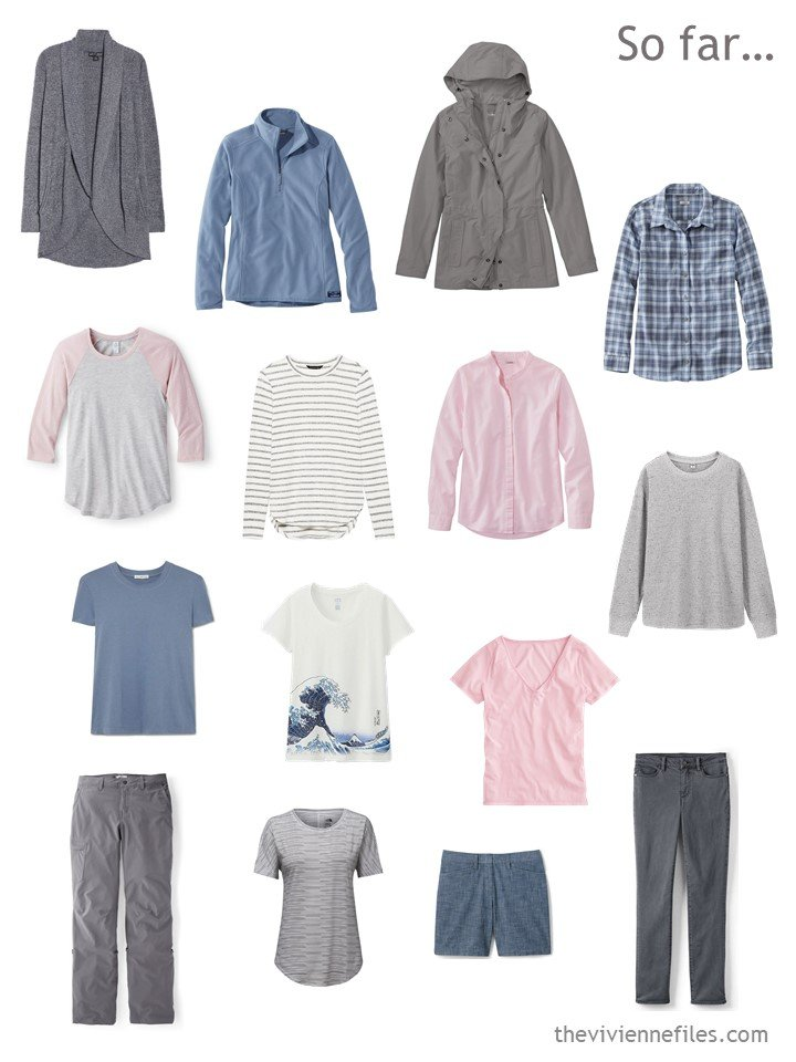 5. 15-piece travel capsule wardrobe in grey, blue and pink