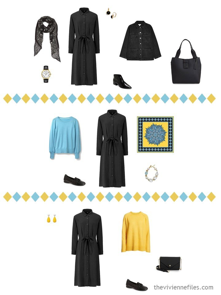 5. 3 outfits from a black, white turquoise and yellow travel capsule wardrobe