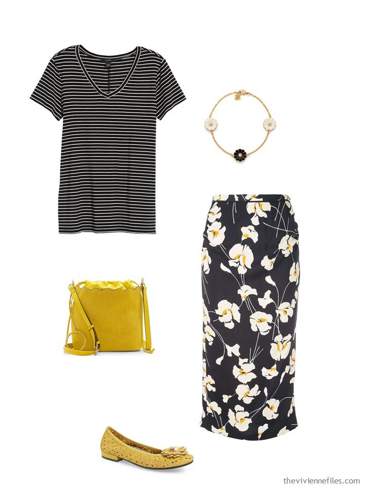 5. black white and yellow stripes and flowers outfit