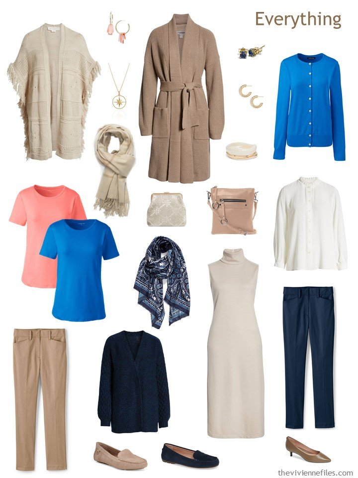 5. navy, beige, blue, coral and white travel capsule wardrobe