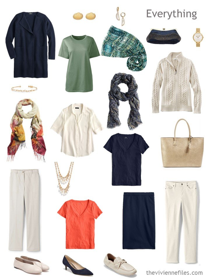 5. travel capsule wardrobe in beige, navy, persimmon and green