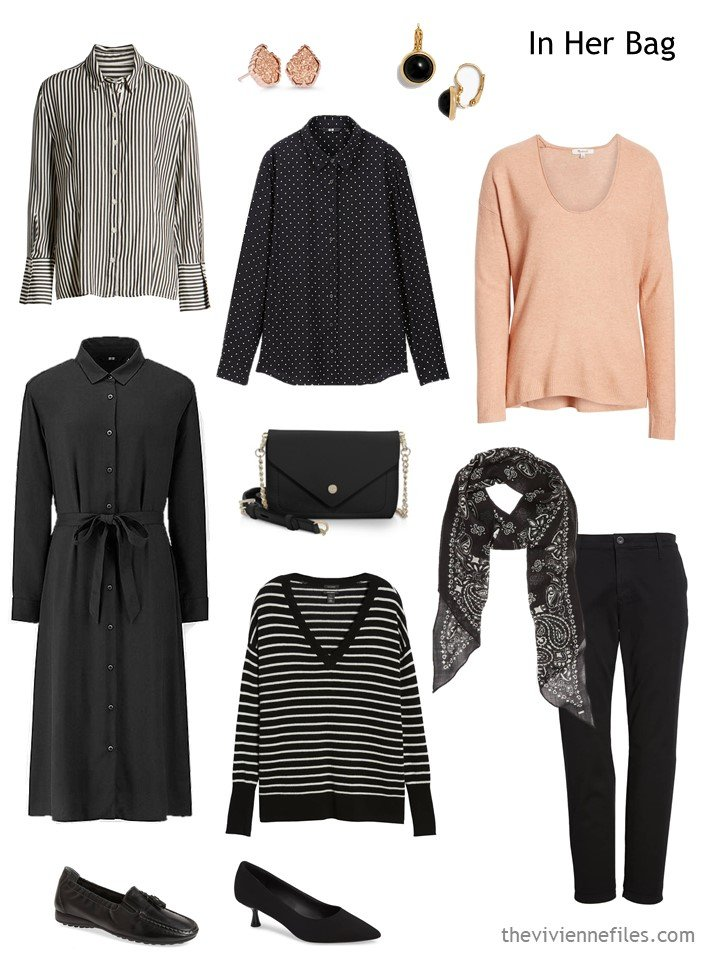 5. travel capsule wardrobe in black, white and apricot