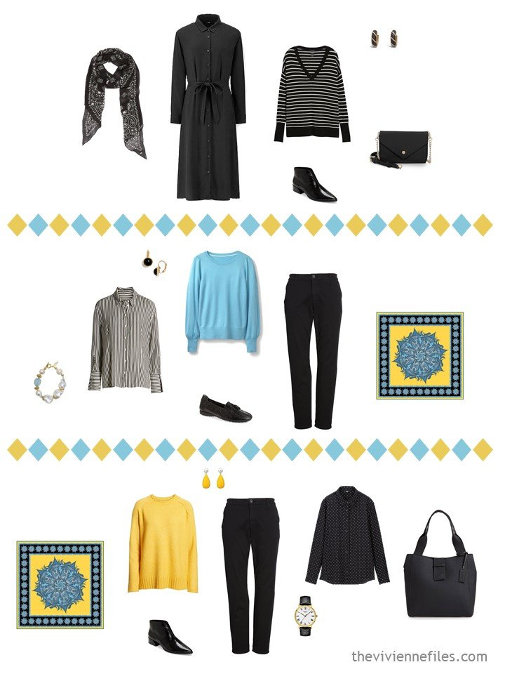 6. 3 outfits from a black, white, turquoise and yellow trael capsule wardrobe