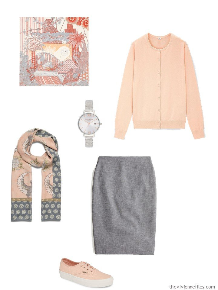 6. peach and grey skirt outfit