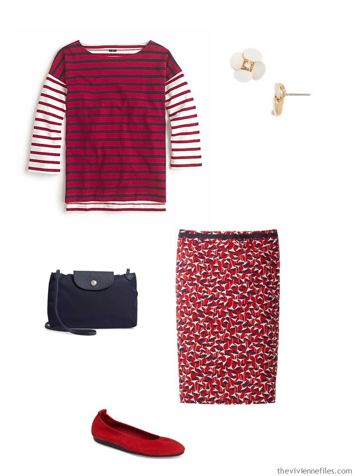 6. red and white stripes and flowers outfit
