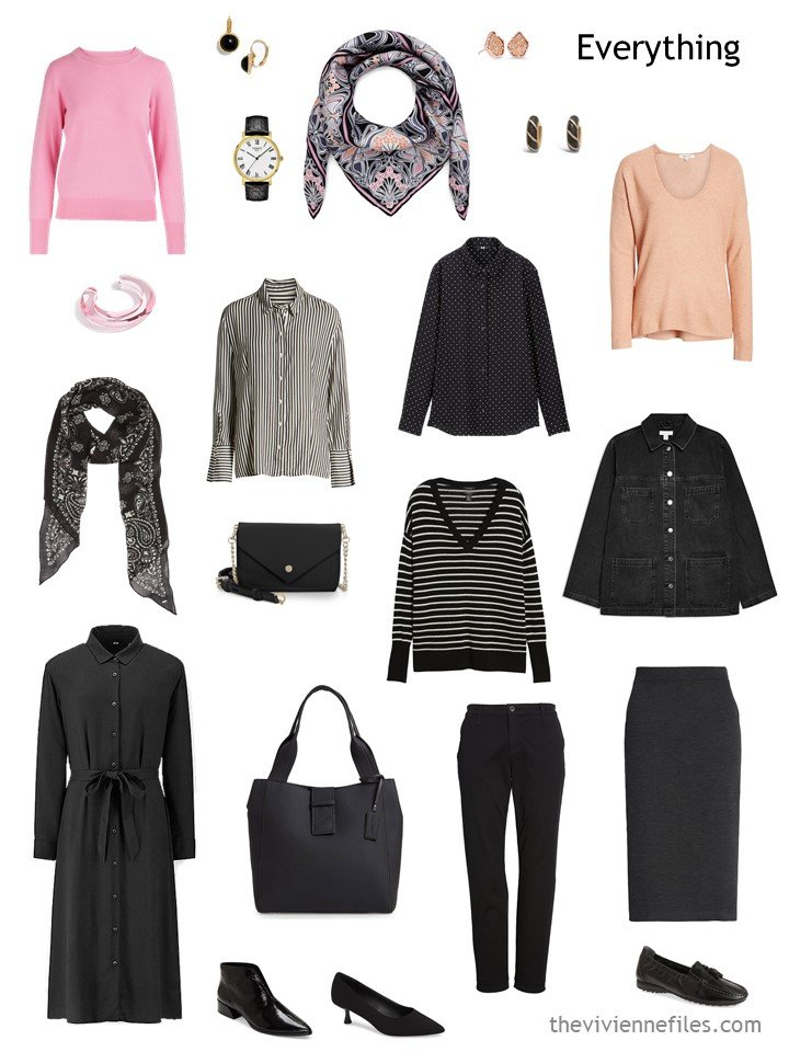 6. travel capsule wardrobe in black, white, pink and apricot