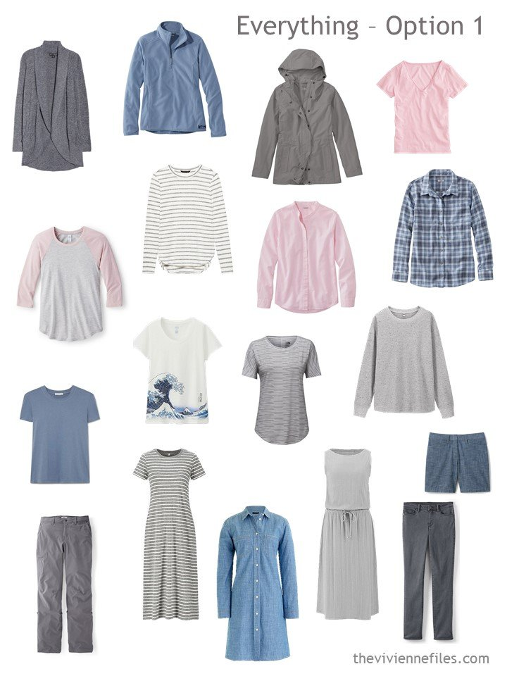 7. 18-piece travel capsule wardrobe with 3 dresses