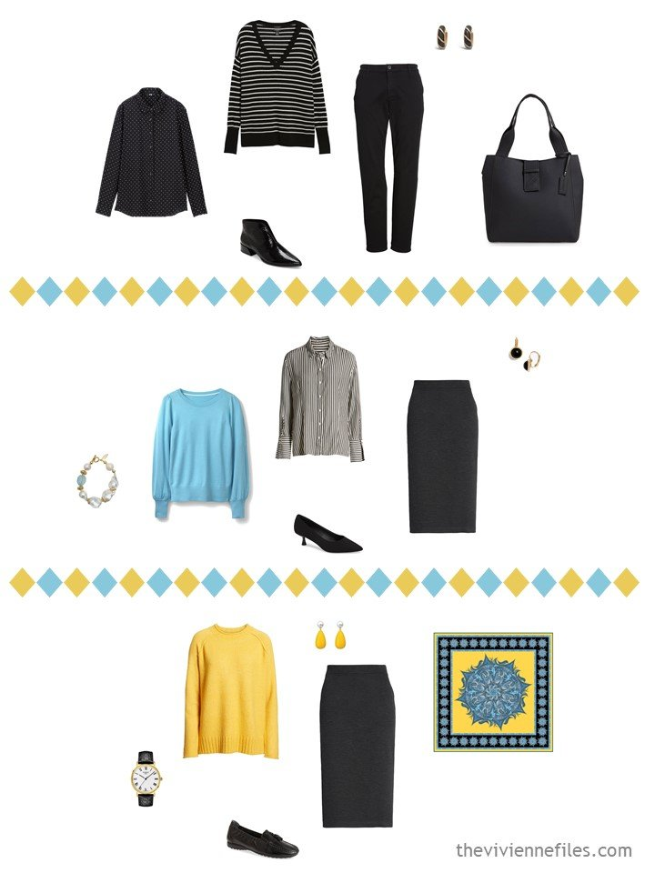 7. 3 outfits from a black, white, turquoise and yellow travel capsule wardrobe