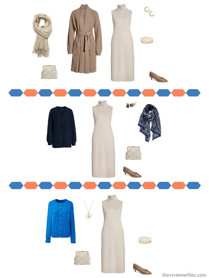 7. 3 ways to wear a beige dress from a travel capsule wardrobe