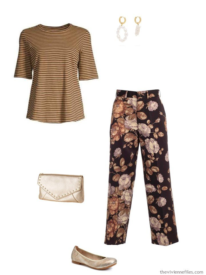 7. brown stripes and flowers outfit