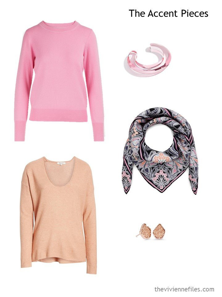 7. wardrobe accents in pink and apricot
